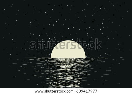 seascape with full moon at the