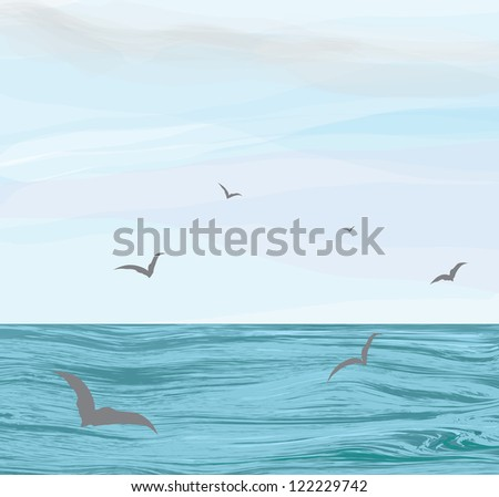 Seascape with ripple water surface,cloudy sky,flying seagulls