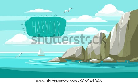 seascape with rocks and clouds