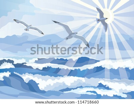 Seascape with seagull soaring in the sky, vector illustration