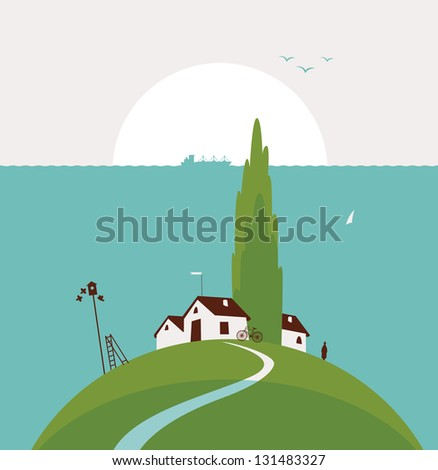seascape with the countryside