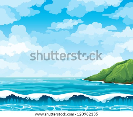 seascape with waves and green