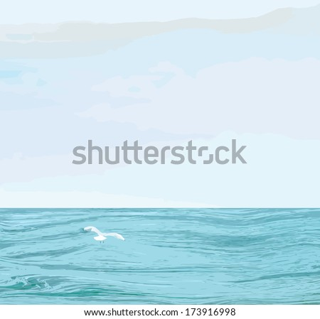 Seascape with wavy sea surface,cloudy sky, flying seagull