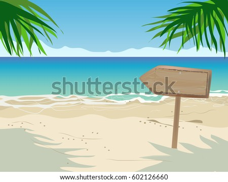 seascape with wooden arrow