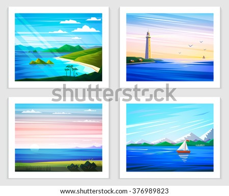seascapes set of vector