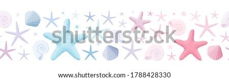 seashell and starfish seamless