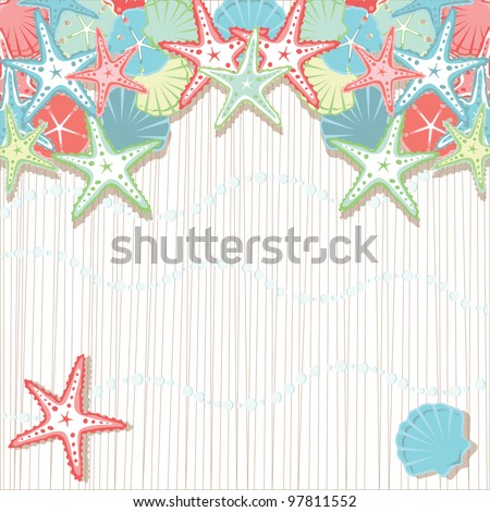 Seashell Beach Party Invitations.  Soft colored seashells in shades of coral and aqua against a textured background and sea foam bubbles. Plenty of room for your party info.