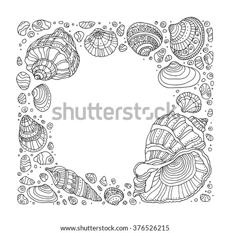 seashell border frame ocean pattern vector vintage illustration zentangle coloring book page - Zentangle Coloring Book