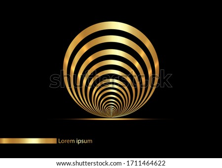 seashell golden lines in circle