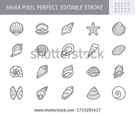 Seashell, oyster, scallop line icons. Vector illustration included icon as nautilus, spiral shell, starfish outline pictogram for beach mollusk infographic. 64x64 Pixel Perfect Editable Stroke Foto stock ©