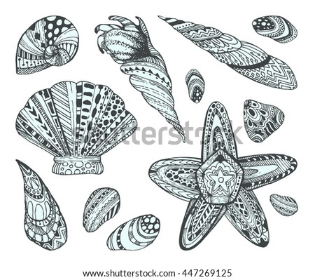 seashell pattern  black and...