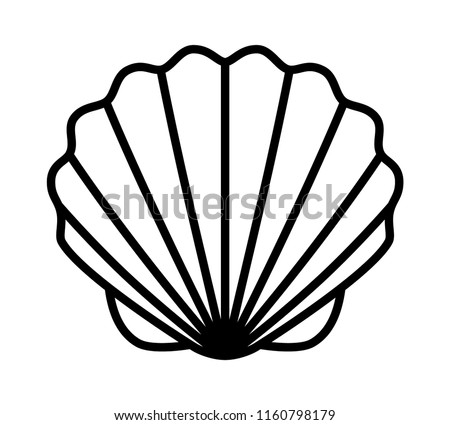 Seashell shell / shellfish or seafood line art icon for wildlife apps and websites