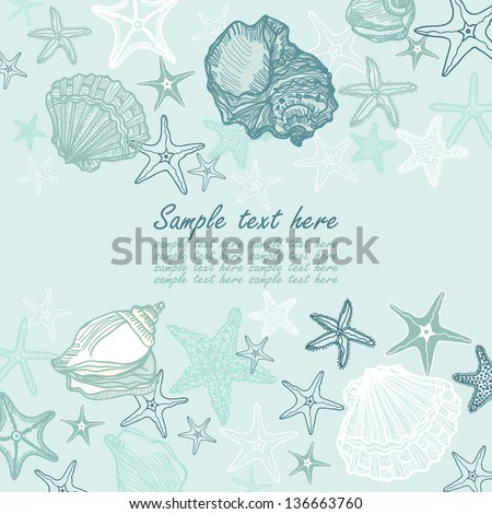 seashells and starfish vector