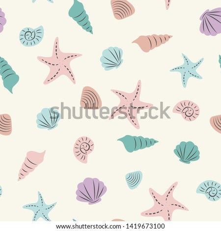 Seashells Seamless Pattern for Tshirt Graphic Vector Print Stockfoto ©