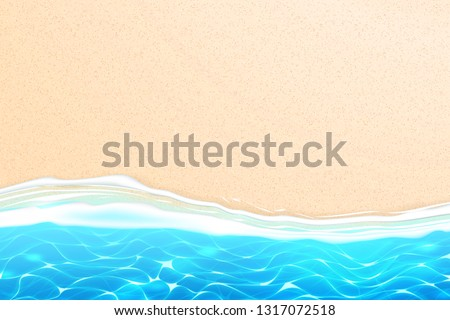 Seaside beach with azure waves on sand coast. Seashore summer holiday background for travelling and vacation design. Coastal landscape for resort tourism, sea party backdrop. Realistic vector seascape