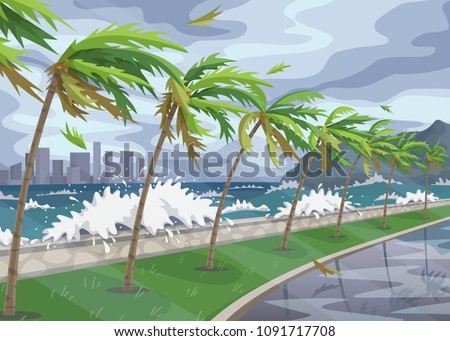 seaside landscape with storm in