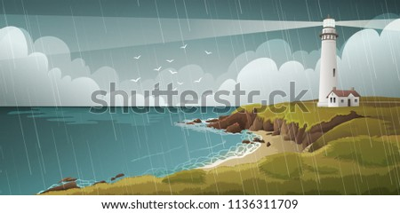 seaside landscape with white