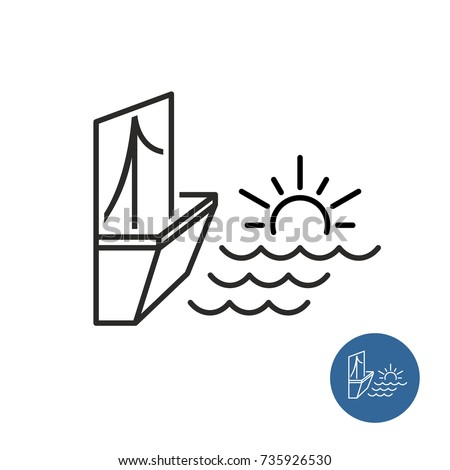 seaside view icon linear style