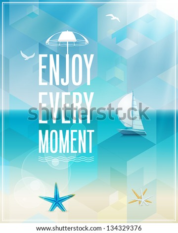 seaside view poster vector