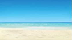Seaside view, summer beach, vacation background. Vector eps10 illustration.