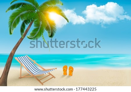 seaside view with a palm tree