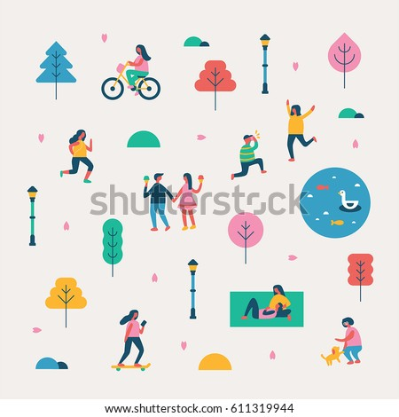 season background people character vector illustration flat design - Shutterstock ID 611319944