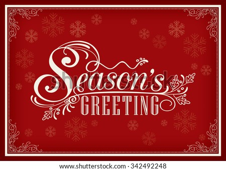 Seasons greetings vector download free vector art stock graphics season greeting word vintage frame design on red background m4hsunfo Choice Image