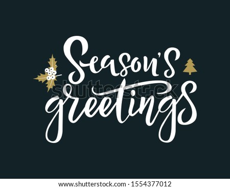 Season greetings white calligraphy phrase vector illustration. Winter handwriting inscription. Xmas and New Year postcard design element. Festive lettering isolated on black background