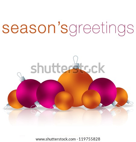 Season's Greetings bauble card in vector format.