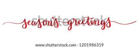 SEASON'S GREETINGS brush calligraphy banner stock photo