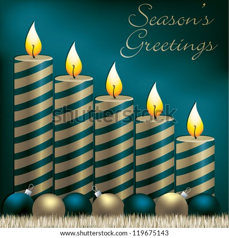 Season's Greetings candle, bauble and tinsel card in vector format.