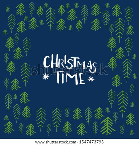 Season's greetings. Hand drawn Christmas lettering and decoration elements for greeting cards, stationary, gift tags, scrapbooking, invitations. Social media post template