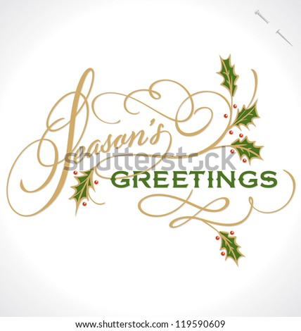 SEASON'S GREETINGS hand lettering, vector (eps8)