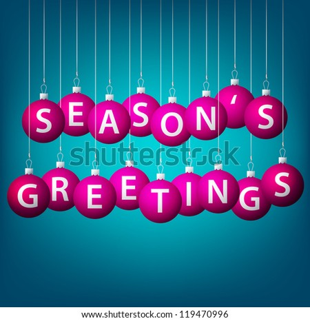 Season's Greetings hanging bauble card in vector format.