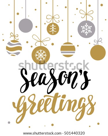 Season's greetings. Holiday greeting card with calligraphy and decorative elements. Handwritten modern lettering with xmas decorations on white background.