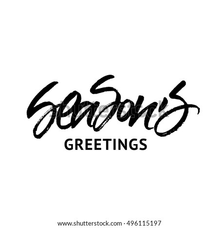 Season's Greetings inscription isolated on white background