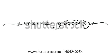 Season's greetings lettering greeting card isolated on white background. Christmas Vector illustration