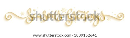 SEASON'S GREETINGS metallic gold vector brush calligraphy banner with spiral flourishes and snowflakes stock photo