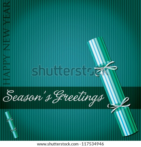 Season's Greetings pin stripe cracker card in vector format.
