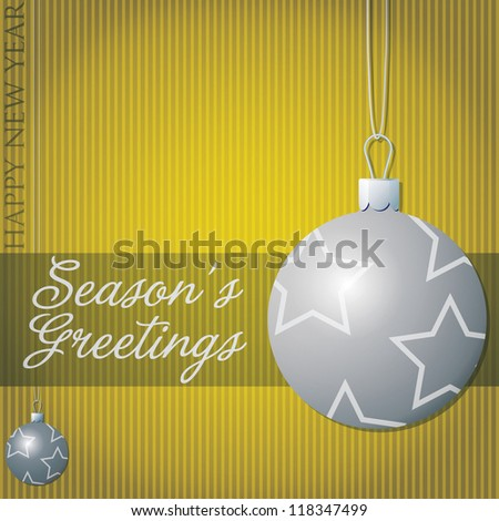 Season's Greetings star bauble card in vector format.