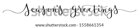 SEASON'S GREETINGS vector brush calligraphy banner with swashes stock photo
