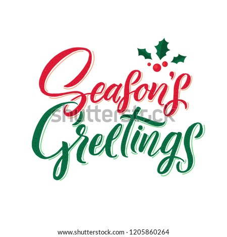 Season's Gretings. Merry Christmas vector text Calligraphic Lettering design card template. Creative typography for Holiday Greeting Gift Poster. Calligraphy Font style Banner.