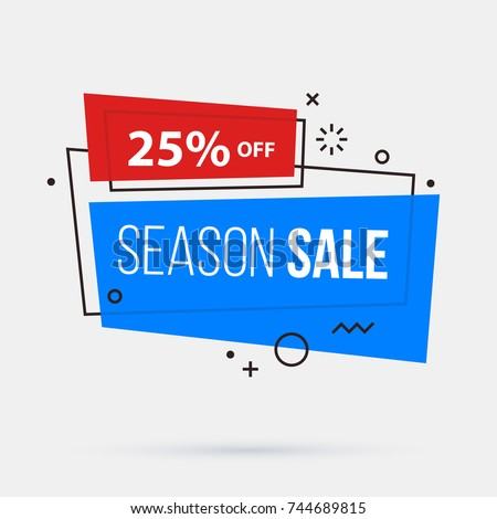 Season sale banner template in memphis geometric style on white background