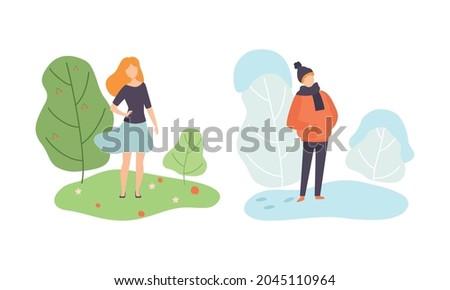 season scene with man and woman