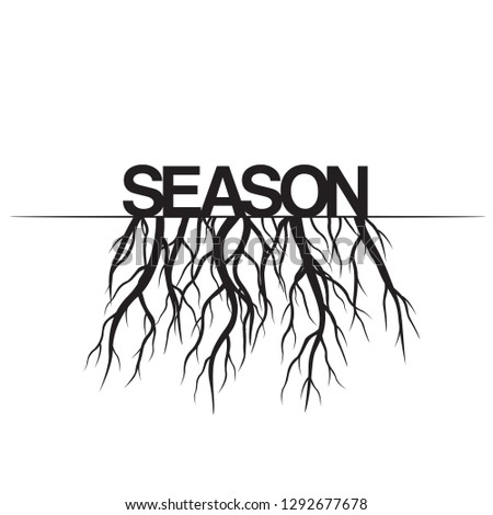 Season with Roots. Vector Illustration. Plant and Garden.