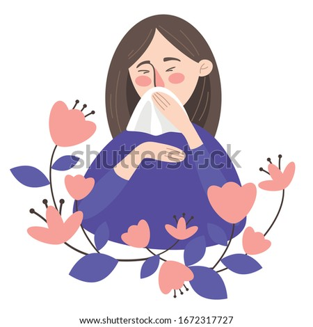 Seasonal Allergy Concept. An allergic to pollen girl  sneezes into a handkerchief. Allergy to flowering.  Woman with allergy symptoms blows her nose or sneezes into a handkerchief. Vector illustration
