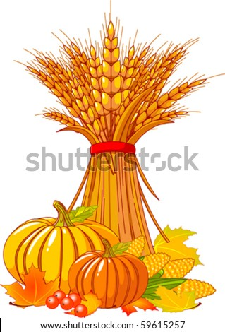 stock-vector-seasonal-background-with-plump-pumpkins-wheat-corn-and-autumn-leaves