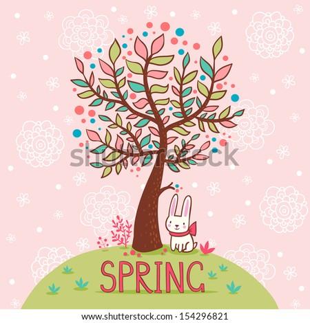 seasonal background with tree
