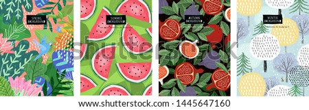 Seasonal backgrounds: spring, summer, autumn, winter. Vector abstract illustration of flowers, leaves, trees and fruits for patterns, wallpapers and cards.