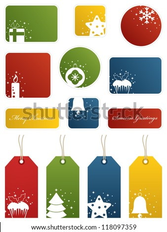 seasonal christmas labels and gift tags with motifs, isolated on white